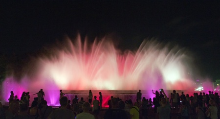 Colour Magic Fountain on Montjuic mountain in evening in Barcelona.Spain. photo