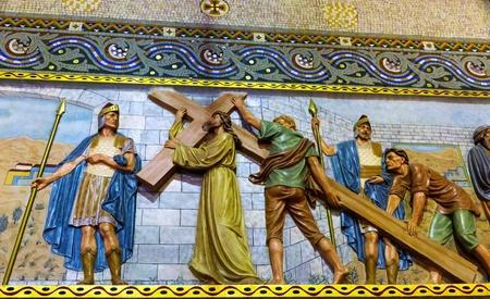 sagrat cor: Christ on the cross mosaic on Temple del Sagrat Cor (Church of the Sacred Heart). Barcelona. Spain. Stock Photo