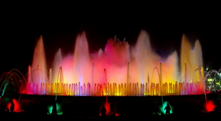Fountain of Montjuic light show at Plaza Espanya in Barcelona photo
