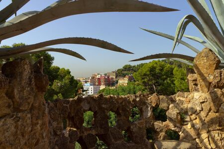 Barcelona city Parc Guell - park city designed by Antoni Gaudi photo