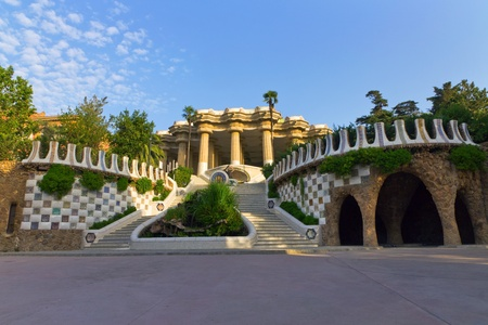 guell: Central entry Park Guell in Barcelona - Spain