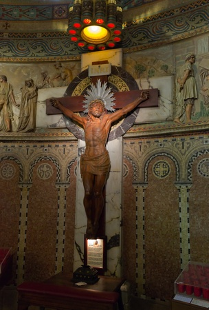 Jesus Christ crucifixion - interior Temple of Atonement of the Sacred Heart Tibidabo  Barcelona