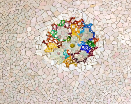 ceramic ornate mosaic ceiling park Guell in Barcelona - Spain photo