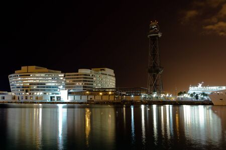 World Trade Center port Port Vell in Barcelona at night  Spain