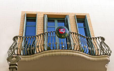 consulate: balcony ornament - Consulate of Lithuania Republic in Barcelona  Spain Stock Photo
