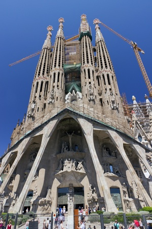 BARCELONA, SPAIN - AUGUST 3  La Sagrada Familia - cathedral designed by Antoni Gaudi, which is being build since 1882 and is not finished yet August 3, 2012 in Barcelona, Spain