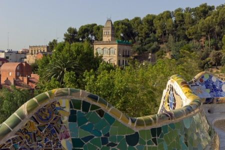 Park Guell mosaic bench snake designed by Antonio Gaudi photo