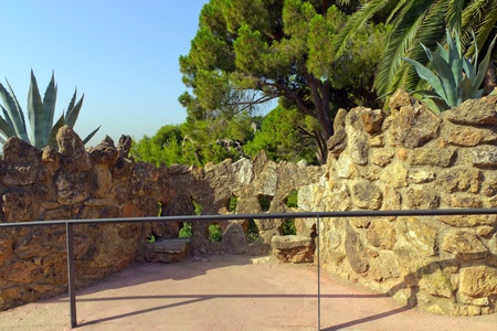 fence stone of a building designed by Gaudi in park Guel in Barcelona Stock Photo - 17472612