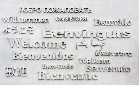 billboard announcement Welcome on many languages of the world
