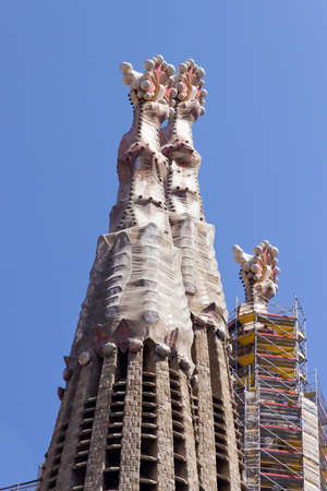 SPAIN -  La Sagrada Familia Details - cathedral designed by Antoni Gaudi , which is being build since 19 March 1882 and is not finished yet August 24, 2012 in Barcelona, Spain.  Redakční