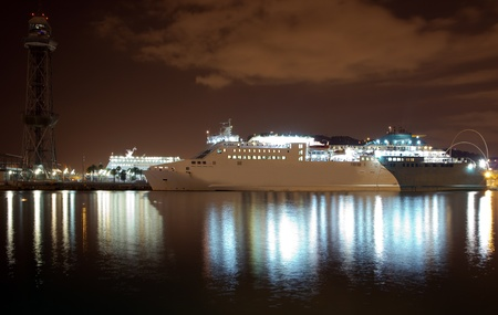 The night ferry harbor of Barcelona  Port Well, Spain  photo