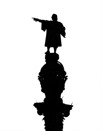 Silhouette of Christopher Columbus statue isolated on white photo