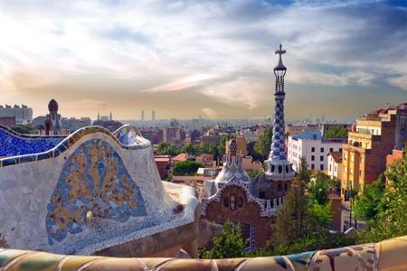 architecture designed by Antonio Gaudi in Park Guell, Barcelona