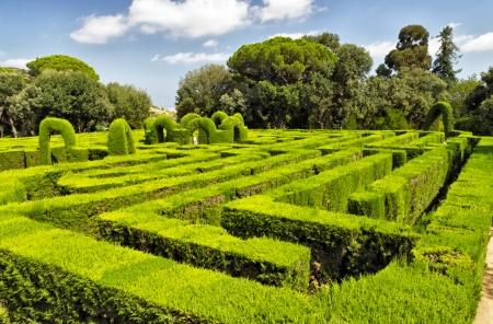 Park Labyrinth landscape in Barcelona, Spain