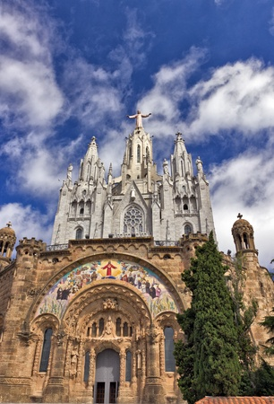 sagrat cor: Jesus Christ on the Temple del Sagrat Cor Tibidabo  Barcelona