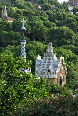 Houses in Park Guell designed by famous architect Antonio Gaudi, Barcelona