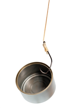 fish hook in empty tin can on white background  photo