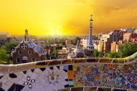 Park Guell museum ontworpen door Antoni Gaudi, Barcelona, Spanje Redactioneel
