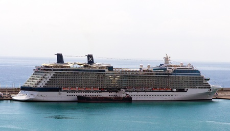 Cruise ship standing Port in Barcelona, Catalonia, Spain, Europe  photo