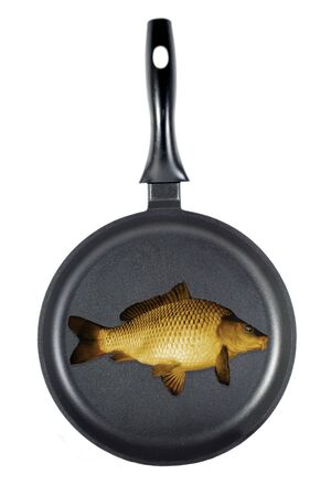 frying fish isolated on the white background  Stock Photo - 18968105