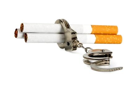 nicotine: Cigarette tobacco nicotine habit - Stop smoking, isolated on white background