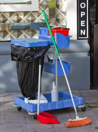 Cleaning streets jobs set - broom, rubbish pail and dust pan Stock Photo