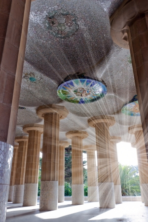 Ceiling of the common-room one hundred pillars park Guell in Barcelona - Spain