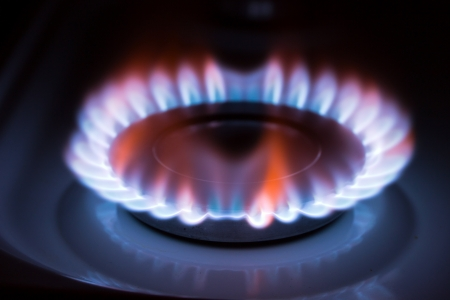 Blue flame gas stove in the dark. Stock Photo - 20110502