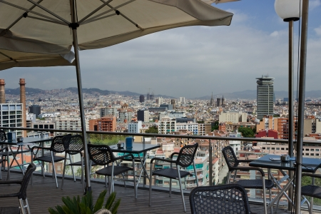 View over Barcelona buildings city from the cafe, SPAIN  photo