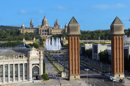 barsa: View of city from National Palace, BARCELONA, SPAIN