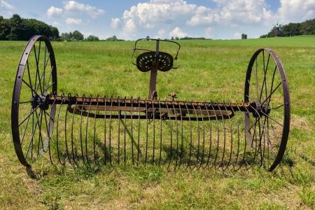 Old rusty harrow plow back near the village in Folk Arts museum Pirogovo, Kiev, Ukraine Stok Fotoğraf