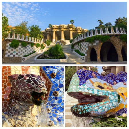 set dragon with ornamental snake at Guell park, Barcelona, Spain