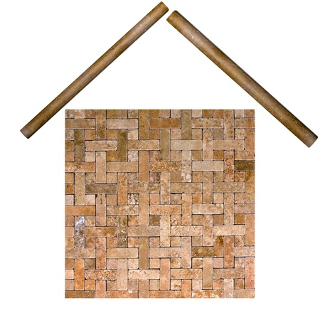 the building from frame mosaic tile grunge background  photo