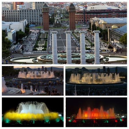 Espanya Square in Barcelona and National Palace water fountain landmark set