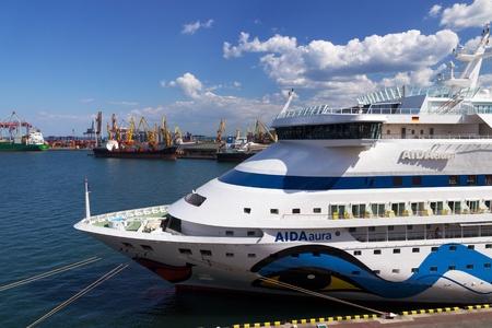 ODESSA, UKRAINE- JULY 22. Cruise ship Aida Aura came into the port of Odessa, Ukraine on July 22, 2013. Odessa is the cruise port of Ukraine.