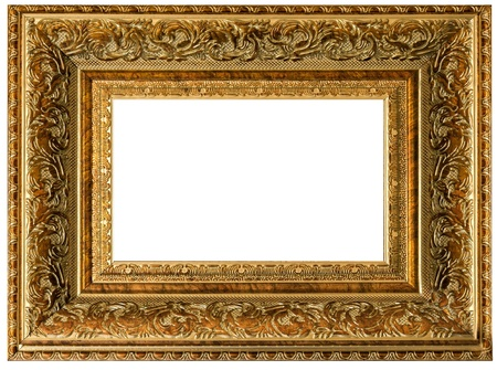 One golden wood vintage empty frame isolated on white background  photo