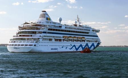 ODESSA, Ukraine - July 22: Cruise ship Aida Aura came into the port of Odessa, Ukraine on July 22, 2013. Odessa is the biggest cruise port of Ukraine.
