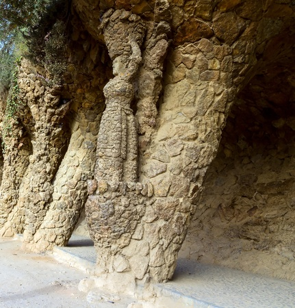 Stone columns in Park Guell in Barcelona, designed by Gaudi.