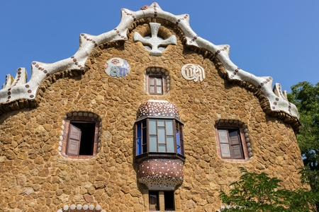 design mosaic Park Guell in Barcelona, Spain.
