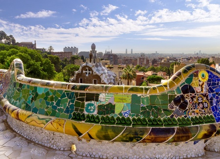 design mosaic Park Guell in Barcelona, Spain.  photo