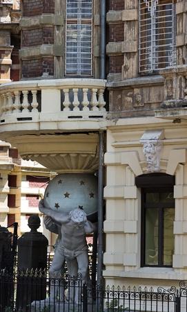 atlantes: House with atlantes - mansion baron von Falz-Fein in Odessa, Ukraine. Stock Photo