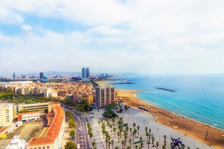 sea and architecture of Barcelona  Spain photo