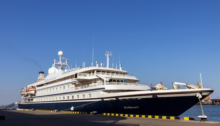 ODESSA, Ukraine - August 22  Cruise ship SEA DREAM came into the port of Odessa, Ukraine on August 22, 2013  Odessa is the biggest cruise port of Ukraine 新聞圖片