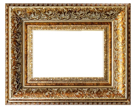 golden vintage empty frame isolated on white background  photo