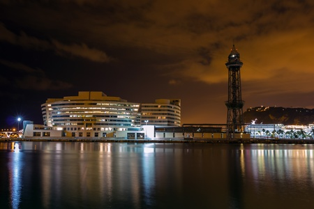 World Trade Center in night Port Vell, Barcelona  Spain  photo