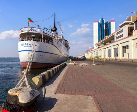 ODESSA, Ukraine - August 23: Cruise ship ADRIANA came into the port of Odessa, Ukraine on August 23, 2013. Odessa is the biggest cruise port of Ukraine.  新聞圖片
