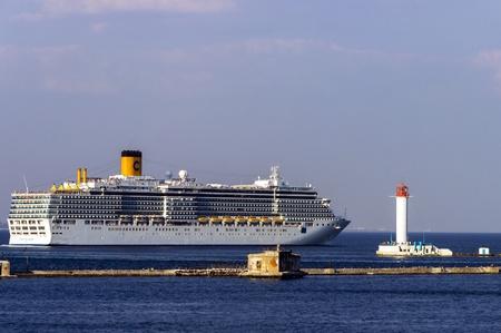 ODESSA, Ukraine - August 23: Cruise ship Costa Deliziosa came into the port of Odessa, Ukraine on August 23, 2013. Odessa is the biggest cruise port of Ukraine.