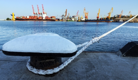 docking: Knight on the deck-fitting of Odessa sea commercial port, Ukraine.