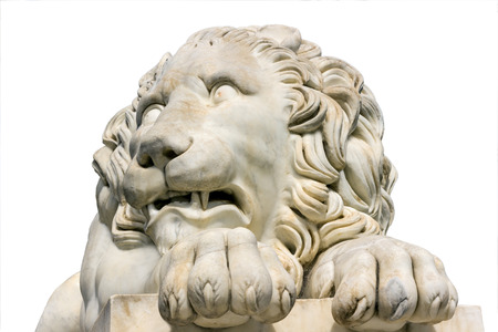 Lion marble sculpture isolated on white background. photo