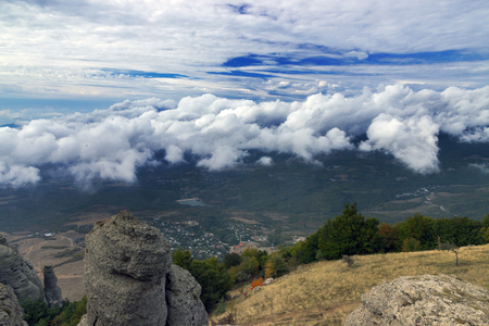 fall mountains landscape under day sky with clouds. Crimea, Ukraine, Europe photo